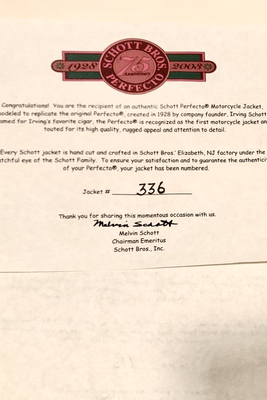 Certificate of authenticity style #1928