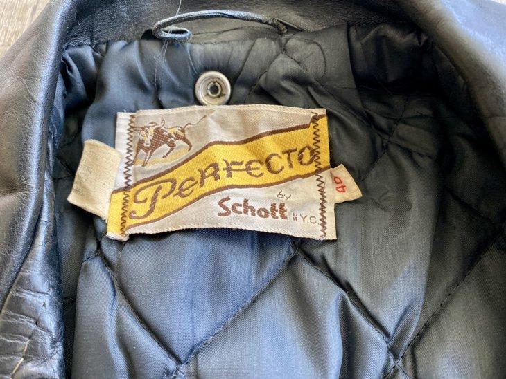 Vintage leather jacket, label
