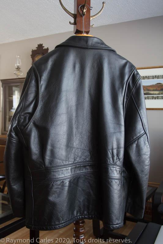 Schott black leather jacket-back