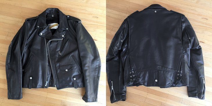 Perfecto biker jacket from 1990s, front and back.