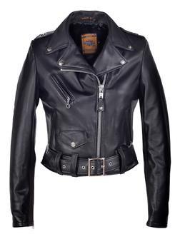 218W - Women's Cropped Perfecto Black Lambskin Leather Jacket