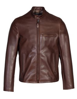530 - Waxed Natural Pebbled Cowhide Café Leather Jacket