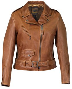 "536W - Women's 23"" Lightweight Waxy Natural Grain Cowhide Perfecto® Asymmetrical Leather Jacket"
