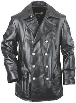 Double Breasted Military Leather Jacket
