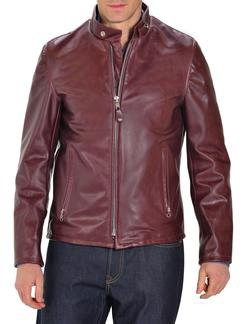 654 - Cowhide Casual Racer Leather Jacket