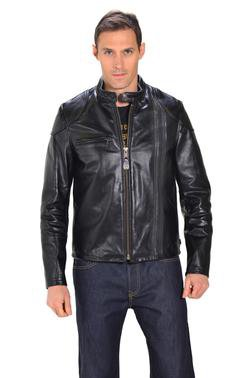 664 - Men's Black Retro Cafe Racer Leather Jacket