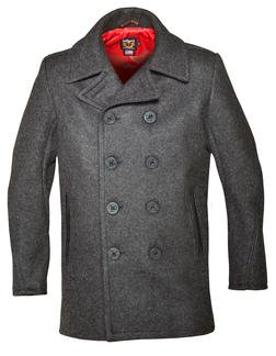 740C - Classic Wool Naval Pea Coat with Leather Trim