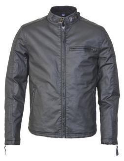 91414 - Waxed Cotton Cafe Racer Jacket (Black)