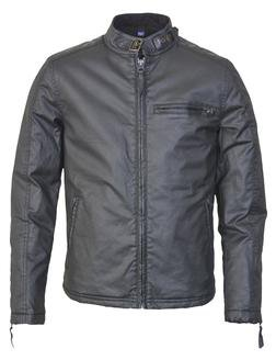 91414 - Waxed Cotton Cafe Racer Jacket (Black)