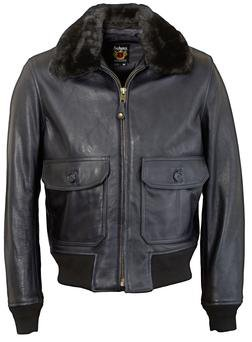 FLT6 - Naked Cowhide G-1 Leather Flight Jacket (Dark Navy)