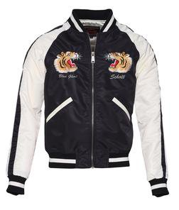 9725 - Two-Tone Nylon Flight Jacket (Black)