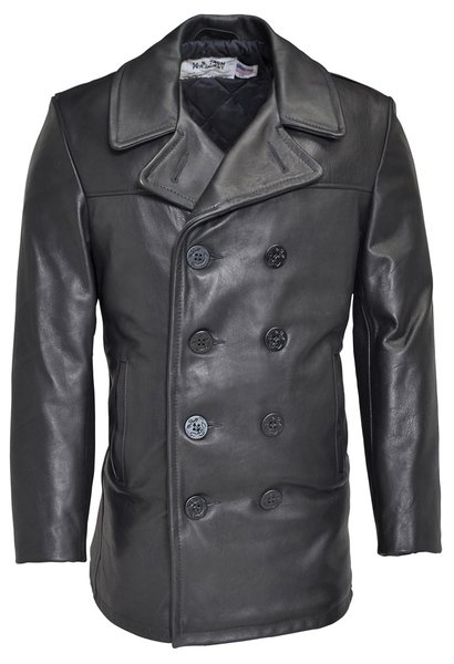 Leather Naval Pea Coat Military Clothing