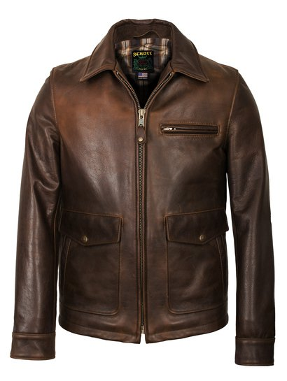 Brown Leather Jacket - Schott NYC
