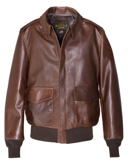 574 - Waxed Natural Pebbled Cowhide A-2 Leather Flight Jacket