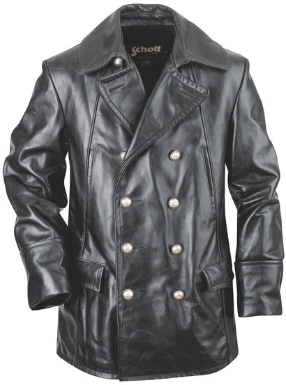 Double Breasted Black Military Leather Jacket 650