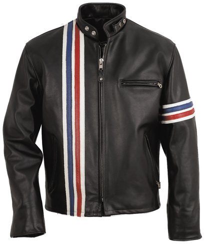 b522e609275 Easy Rider Striped Leather Motorcycle Jacket - Leather Jacket
