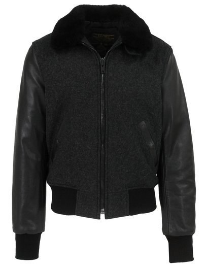 Men's B-15 Style Wool Jacket, Leather Sleeves and Genuine Sheepskin Collar
